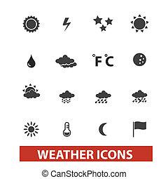 セット, 天候, ベクトル, アイコン