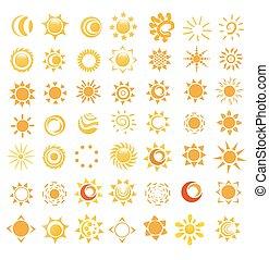 セット, 太陽, イラスト, ベクトル, グロッシー, イメージ