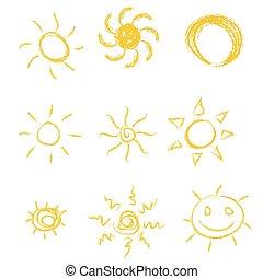 セット, 太陽, ベクトル, イラスト, アイコン