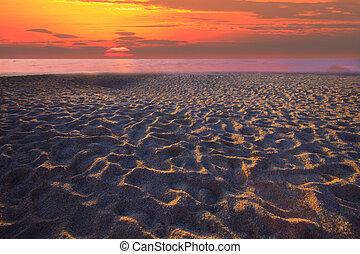 セット, 太陽, 砂, 縁, 浜,  lig