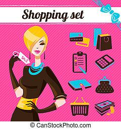 セット, 女性, ファッション, 買い物, infographics