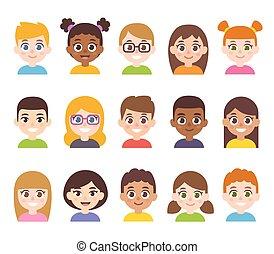 セット, 子供, 漫画, avatar
