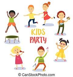 セット, 子供, birthday, 楽しみ, パーティー, 子供, 持つこと