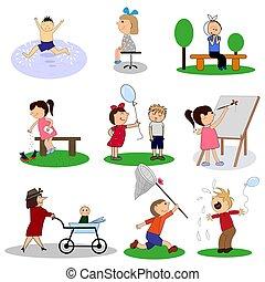 セット, 子供, collection., ベクトル, 幸せ, 漫画, illustrations.