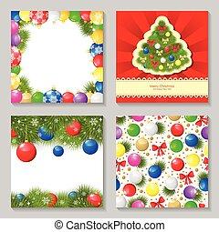 セット, 安っぽい飾り, 多色刷り, デザイン, クリスマスカード