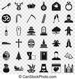 セット, 宗教, スタイル, 単純なアイコン