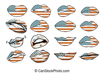 セット, 官能性, アメリカ, 唇, 旗, vector., アメリカ, 女性