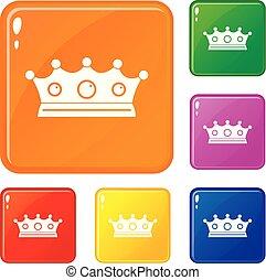 セット, 宝石類, アイコン, 色, 王冠, ベクトル
