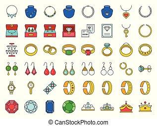 セット, 宝石類, 宝石用原石, ダイヤモンド, アウトライン, 関係した, 満たされた, アイコン
