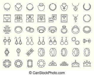 セット, 宝石類, 宝石用原石, ダイヤモンド, 薄いライン, 関係した, アイコン
