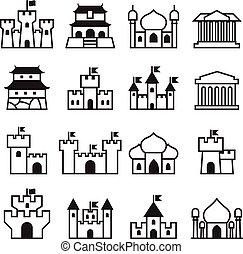 セット, 宮殿, &, 2, 城, アイコン