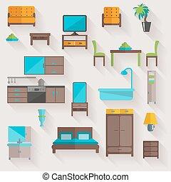 セット, 家具, 家, アイコン, 平ら