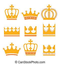 セット, 家族, 金, アイコン, 国王の王冠
