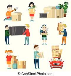 セット, 家族, items., 指示, 再配置, 細部