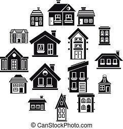 セット, 家, スタイル, 単純なアイコン