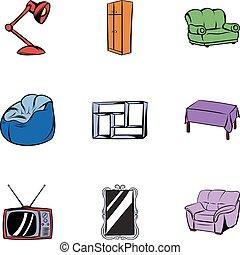 セット, 家, スタイル, 漫画, アイコン