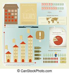 セット, 家, infographics, -, 建設, 型