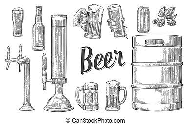 セット, 小樽, 缶, ビール, 2, 大袈裟な表情をしなさい, 手を持つ, bottle., 蛇口, ガラス