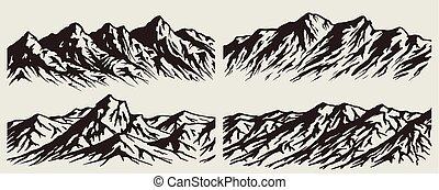 セット, 山, シルエット, 範囲
