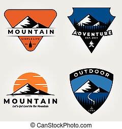 セット, 山, ベクトル, イラスト, 屋外, デザイン, ロゴ, 冒険