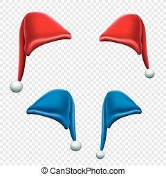 セット, 帽子, クリスマス, 背景, 透明
