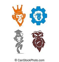 セット, 帽子, サル, ロゴ, ギヤ, 王, イラスト, テンプレート, デザイン