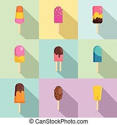 セット, 平ら, スタイル, キャンディ, アイコン