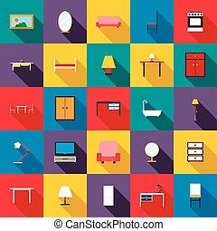 セット, 平ら, スタイル, 家具, アイコン