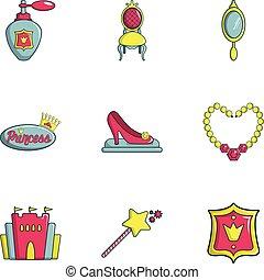 セット, 平ら, スタイル, 王女, アイコン
