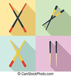 セット, 平ら, スタイル, 箸, アイコン