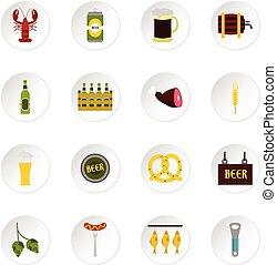 セット, 平ら, ビール, スタイル, アイコン