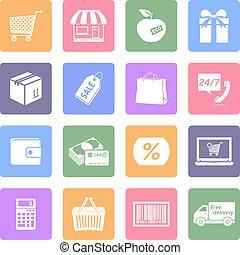 セット, 平ら, 買い物, デザイン, アイコン