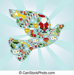 セット, 平和, 形, 鳩, クリスマス, アイコン