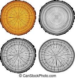 セット, 年輪, 鋸, 切口, 木の幹, バックグラウンド。, ベクトル, illustratio