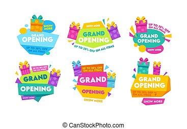 セット, 広告, ラベル, 旗, デザイン, バッジ, 壮大, 幾何学的, ポスター, テンプレート, カラフルである, 開始, promo, shapes., イラスト, 活版印刷, コレクション, 漫画, 贈り物の箱, ベクトル, 広告, フライヤ