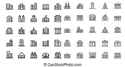 セット, 建物デザイン, 教会, アイコン, 要素
