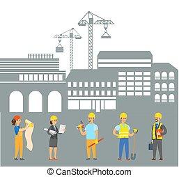 セット, 建設, エンジニア, 働いている人達