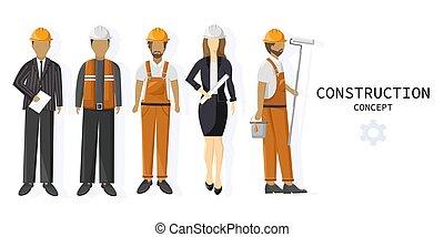 セット, 建設, チーム, 労働者