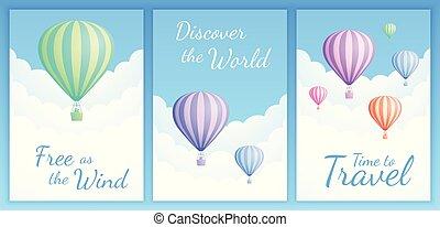 セット, 引用, balloon, 動機づけである, 空気, 暑い, scape, 雲
