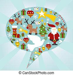 セット, 形, スピーチ泡, クリスマス, アイコン
