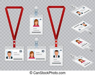 セット, 従業員, 隔離された, イラスト, プラスチック, lanyards, ベクトル, 同一証明, ブランク, カード, 白, id, 止め金