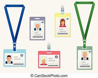 セット, 従業員, 隔離された, プラスチック, lanyards, 同一証明, ブランク, カード, 白, id, 止め金