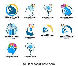 セット, 心理学, ベクトル, デザイン, テンプレート, ロゴ