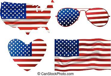 セット, 心, 旗, map., サングラス, イラスト, day., アメリカ人, ベクトル, 4, th, icon., 7月, 漫画, 独立, 幸せ
