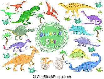 セット, 恐竜, 色, 隔離された, イラスト, 漫画, バックグラウンド。, ベクトル, 白, style.