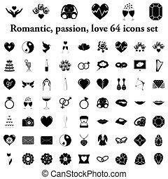 セット, 愛, アイコン, 単純である, 情熱, 結婚式