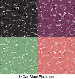 セット, 愛, テキスト, seamless, 言語, パターン, 様々, あなた