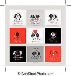 セット, 愛, ビジネスカップル, 一緒に, カード