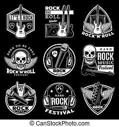セット, 懸命に, 型, ラベル, 音楽, 岩
