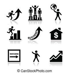 セット, 成功, ビジネス アイコン